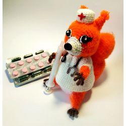 Knitted toy Doctor Squirrel