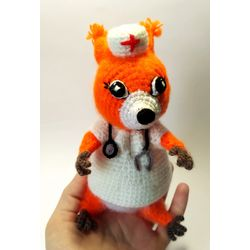 Knitted toy Doctor Squirrel  buy