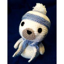 Jouet tricoté PETIT PHOQUE bleu