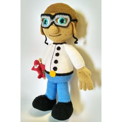 Knitted soft toy in a set CAPTAIN-PILOT buy