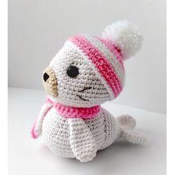 Jouet tricoté PETIT PHOQUE rose