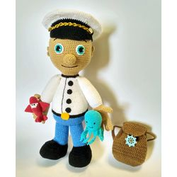 Knitted soft toy in a set CAPTAIN-PILOT