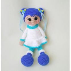 "Crochet doll ""North Girl"" blue"