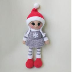 Handmade Knitted Doll gray dress