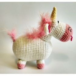 Knitted toy Unicorn Fluffy for child