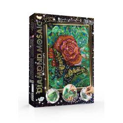 Роза и бабочка - алмазная живопись, набор для творчества