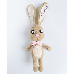Knitted toy the Hare with your own name