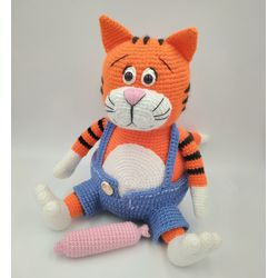 Knitted toy Cat Basil for kids