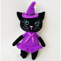Witch Cat Knitted Toy for Halloween buy