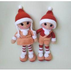 Paire de poupées tricotées KAY et GERDA