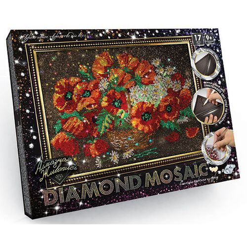 Diamond painting kit BASKET WITH POPPIES - by numbers