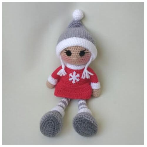 Handmade Knitted Doll red dress