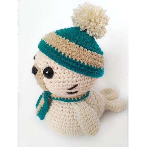 Jouet tricoté PETIT PHOQUE vert