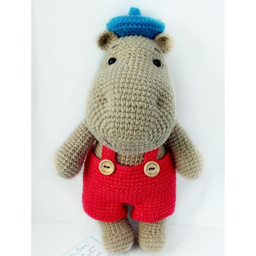 Knitted toy Hippo Tima