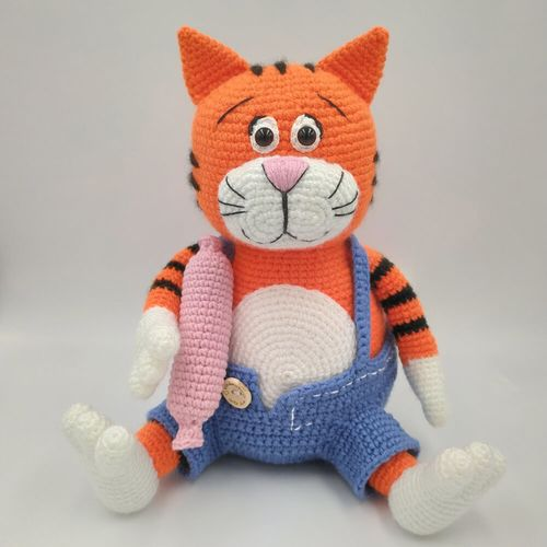Knitted toy Cat Basil for a child 3 years and older