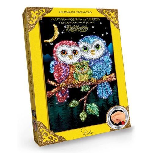 """Painting from sequins """"Owls"""""""