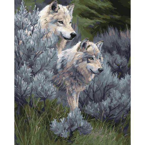 """Peinture en chiffres sur toile pour adultes """"Loups"""""""