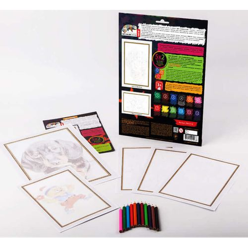 Colored pencil by number kit for kids PBN-01-02 buy